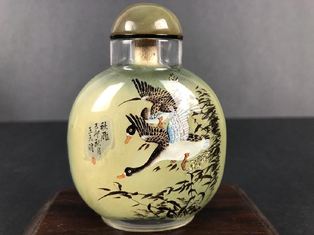Wang Tianyu' Glass snuff bottle inside crane painting