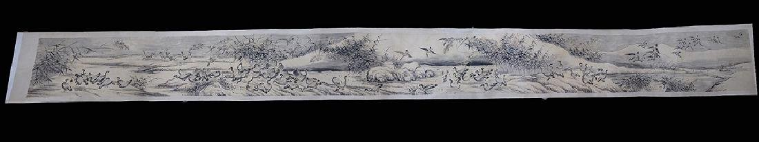 Qing Dynasty. A Group of Wild Geese Hand Scroll
