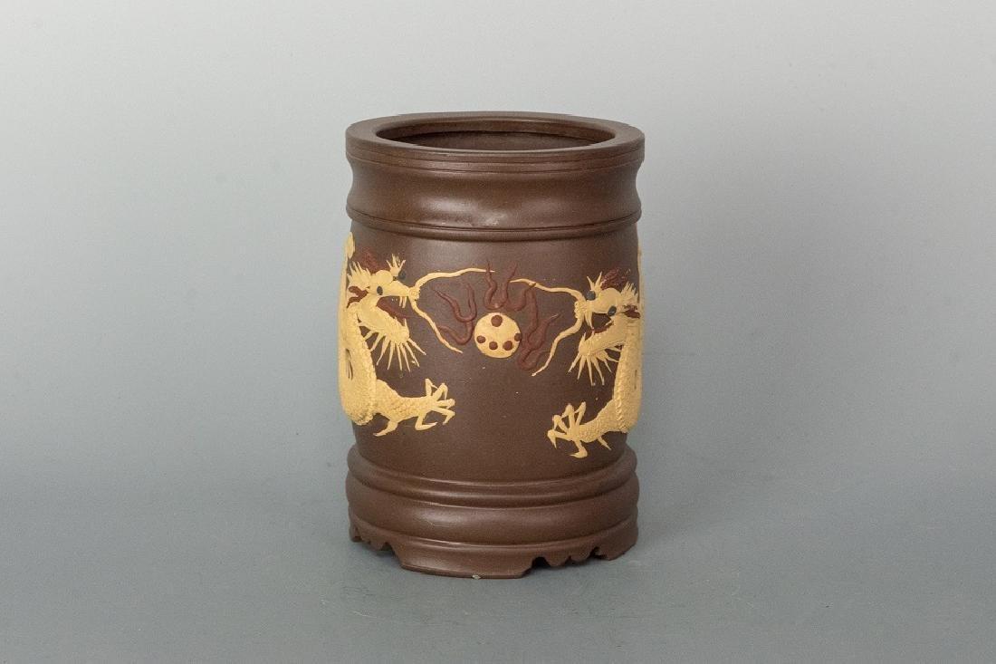 Famous Artist Carve Zisha Dragon Brush Pot