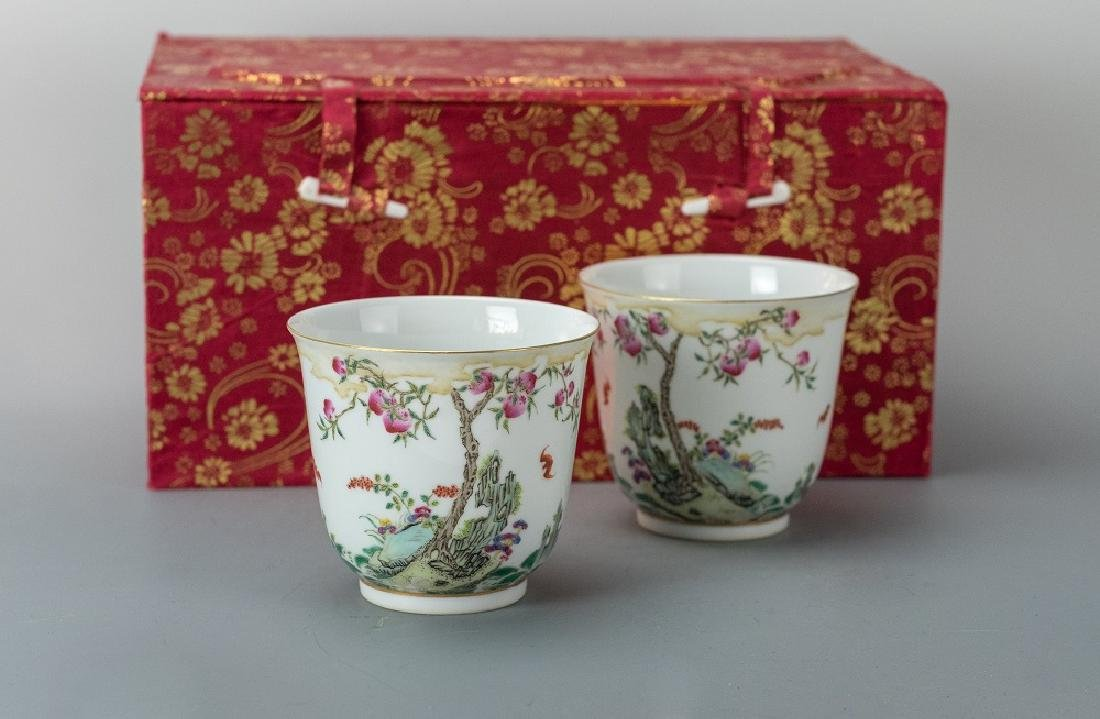 Qing Tongzhi Mark A Pair of Famille-Rose Cup