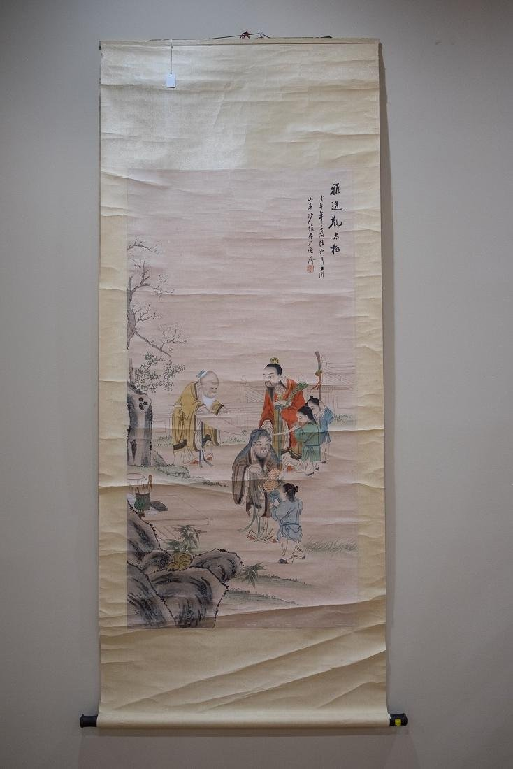 SHA FU Figure ink and color on paper,hanging scroll
