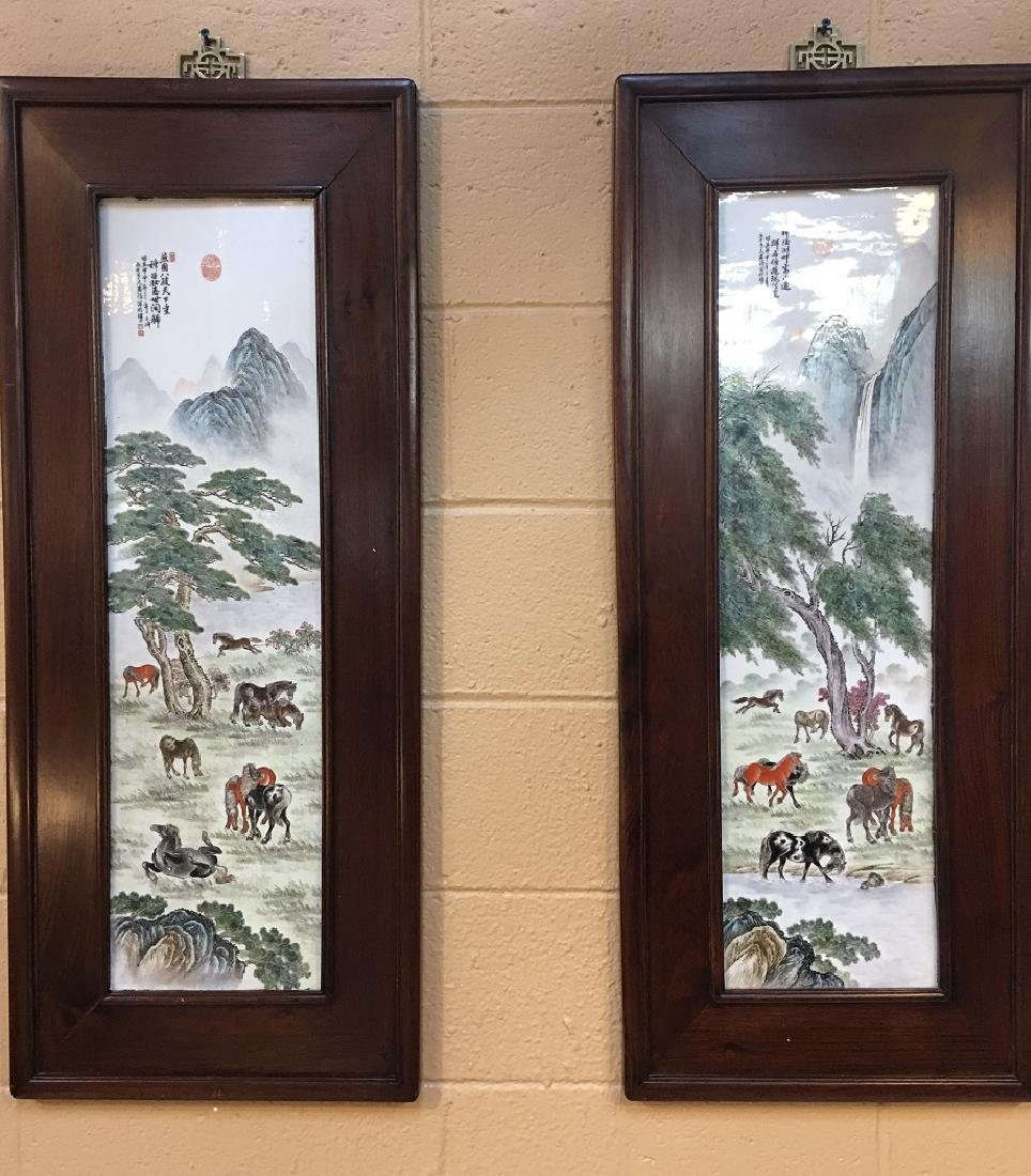 Zhang Zhitang Artist Mark A Pair of Porcelain  Plaques
