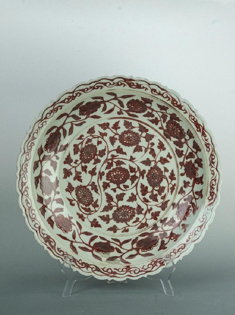 MING Style Large Copper-Red 'LOTUS' Plate
