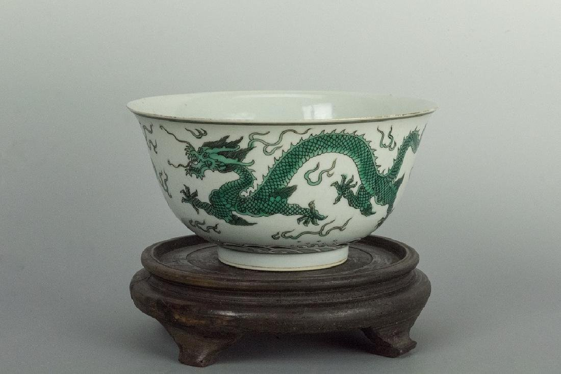 QING Period A Green Dragon Decorated Bowl