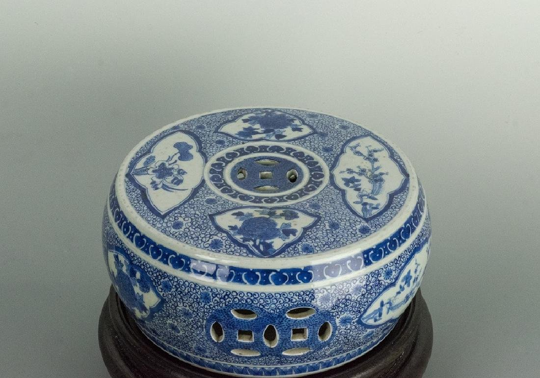late 19th Century Blue & White Porcelain Seat