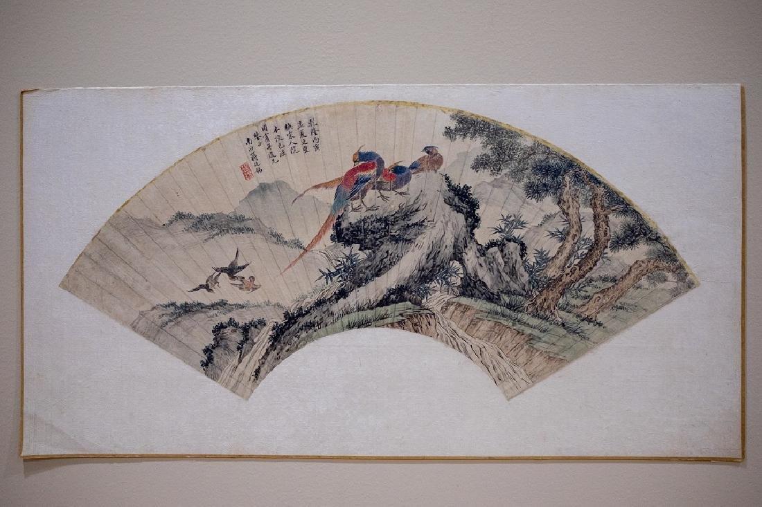 Jiang Tingxi Sector Painting with Mountain-Bird