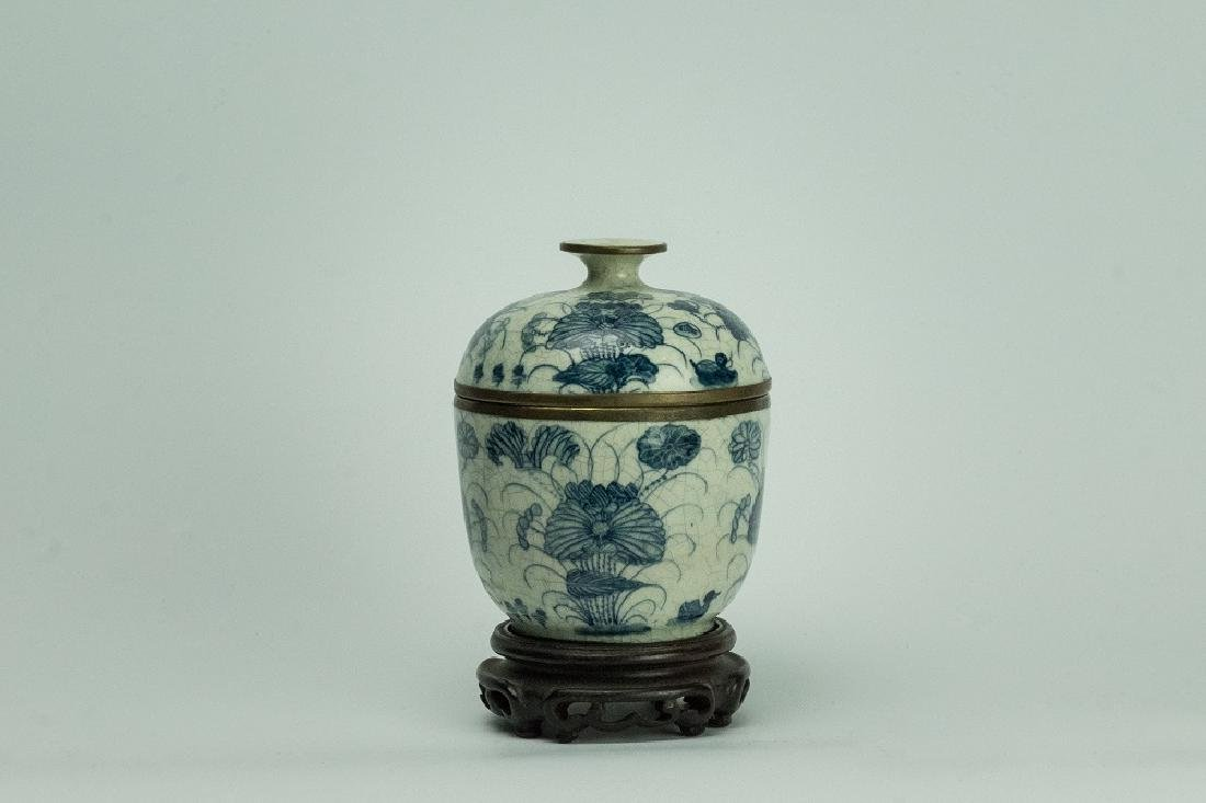 MING DYNASTY Blue and White Cover Jar