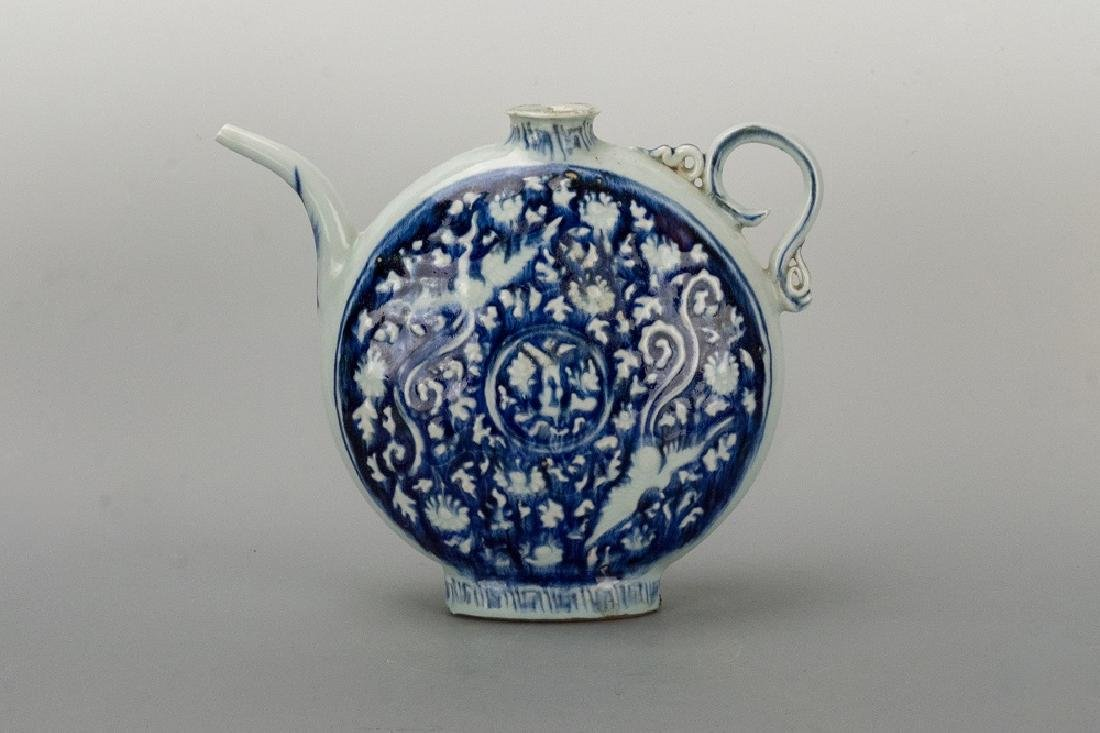 Yuan Dynasty Blue and White'Phoenix Flat Vase
