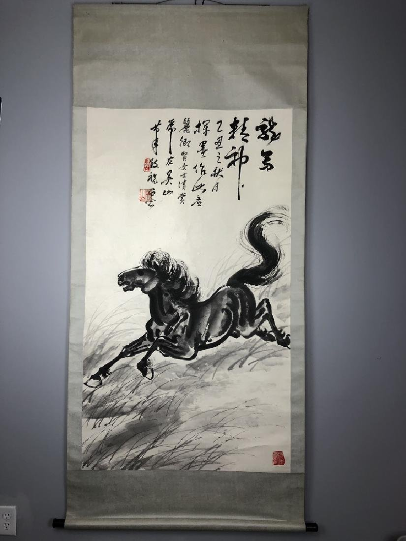 Horse watercolor painting hanging scroll.