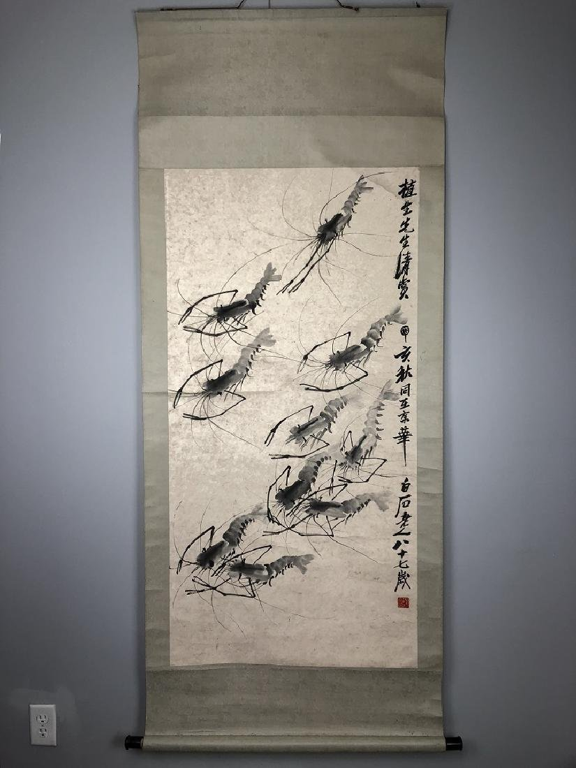 Qi Baishi Seal ink on paper of Ten prawns hanging