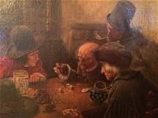 c1744 Gutt Freunden - Original Oil Painting