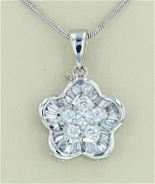 One, 18K White Gold Diamond Pendant , Total DIA 1.00CT