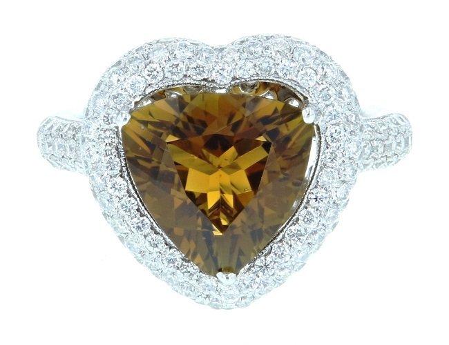 18K WG.Tourmaline Diamond Ring,TOUR4.07CT, DIA1.10CT
