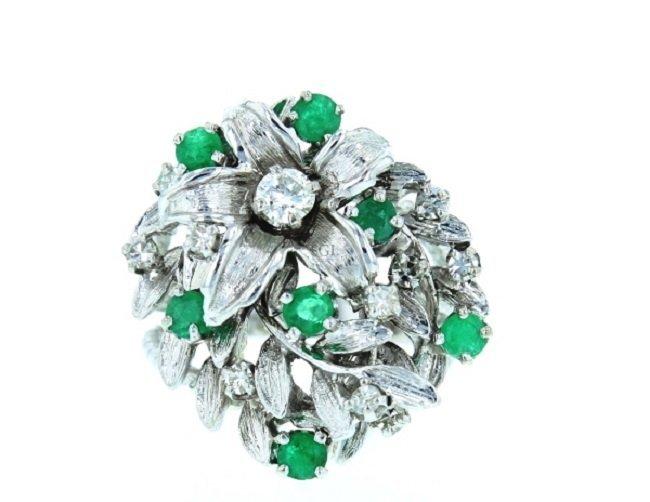 14K White Gold Diamond Ring, Emerald 0.70CT, DIA 0.58CT