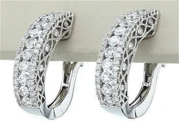 18K White Gold Diamond Earrings, DIA 1.13CT