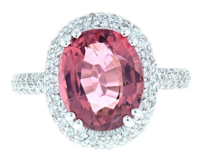 18k WG Diamond Ring, Tourmaline 4.91CT, DIA 1.32CT