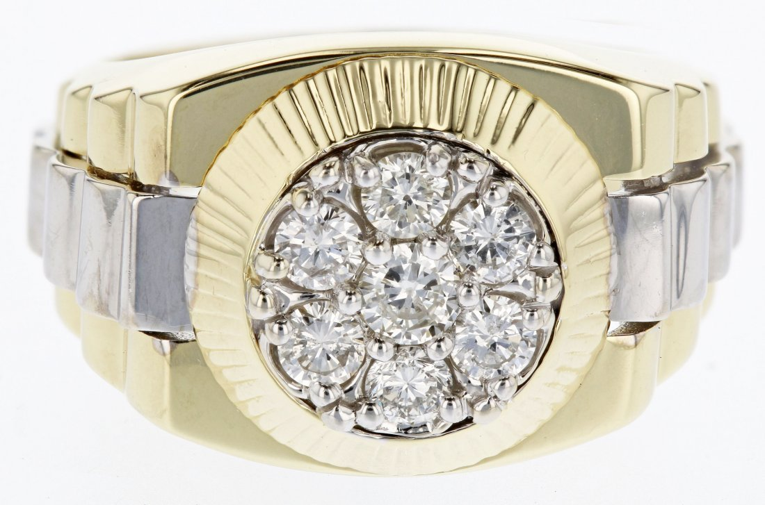 18k two tone gold diamond ring, 0.91CT