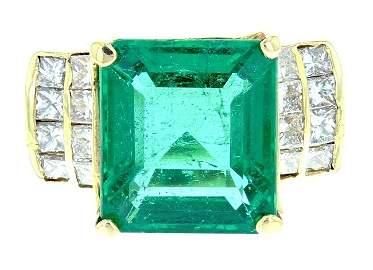 14k yellow gold diamond ring, DIA 1.0CT Emerald 7.5CT