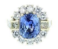 14k yellow gold diamond ring, DIA 3.15CT, Sapphire