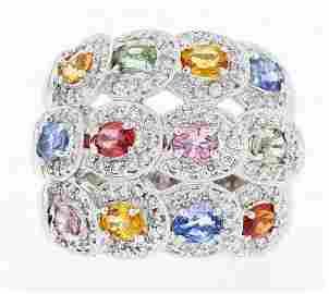 18k white gold diamond ring, 0.70CT, multi color 2.68CT