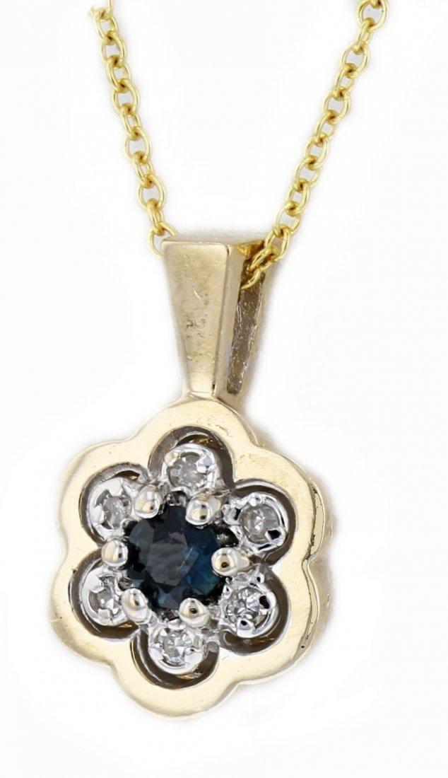 14k two tone gold diamond pendant, Sapphire 0.14CT, DIA