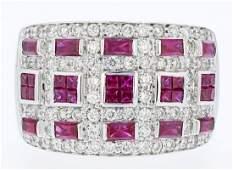 18k white gold diamond ring, ruby 2.31CT, RND 0.99CT