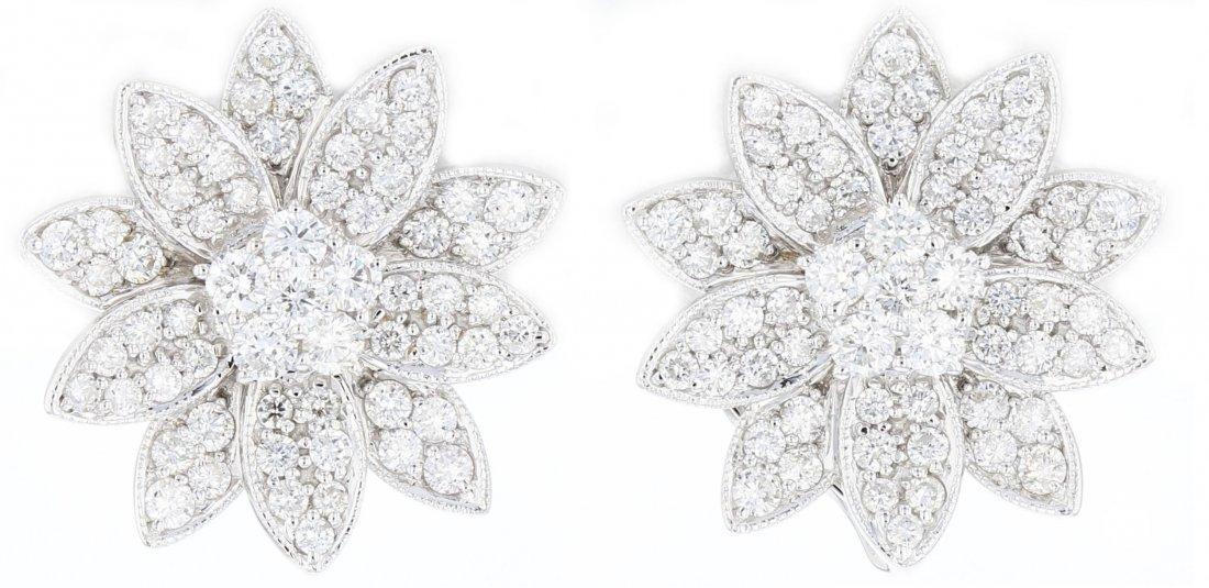 18k white gold diamond earrings, RND 2.62CT