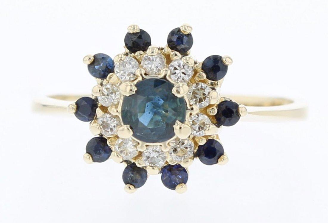 14k yellow gold diamond ring, Sapphire 0.52CT, RND