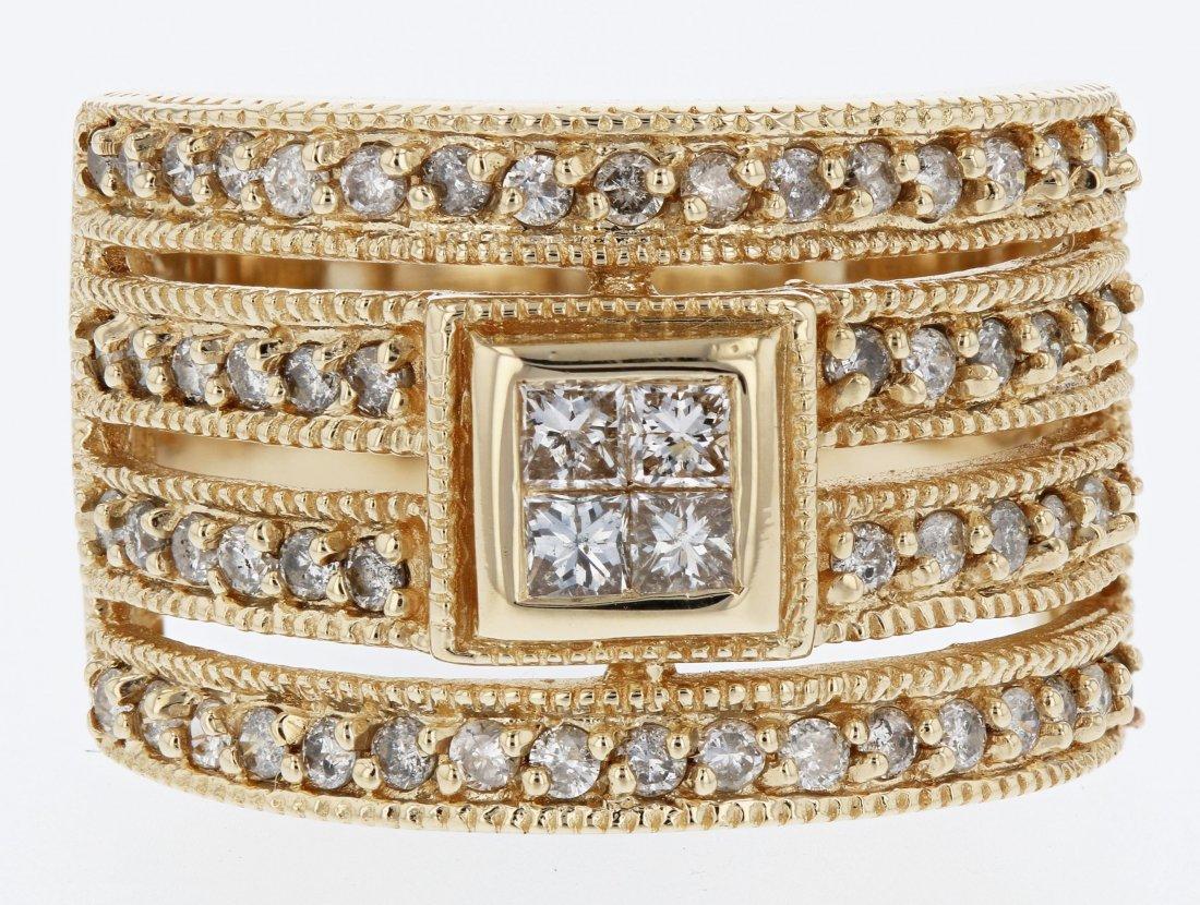 14k yellow gold diamond ring, RND 0.58CT, PRN 0.20CT