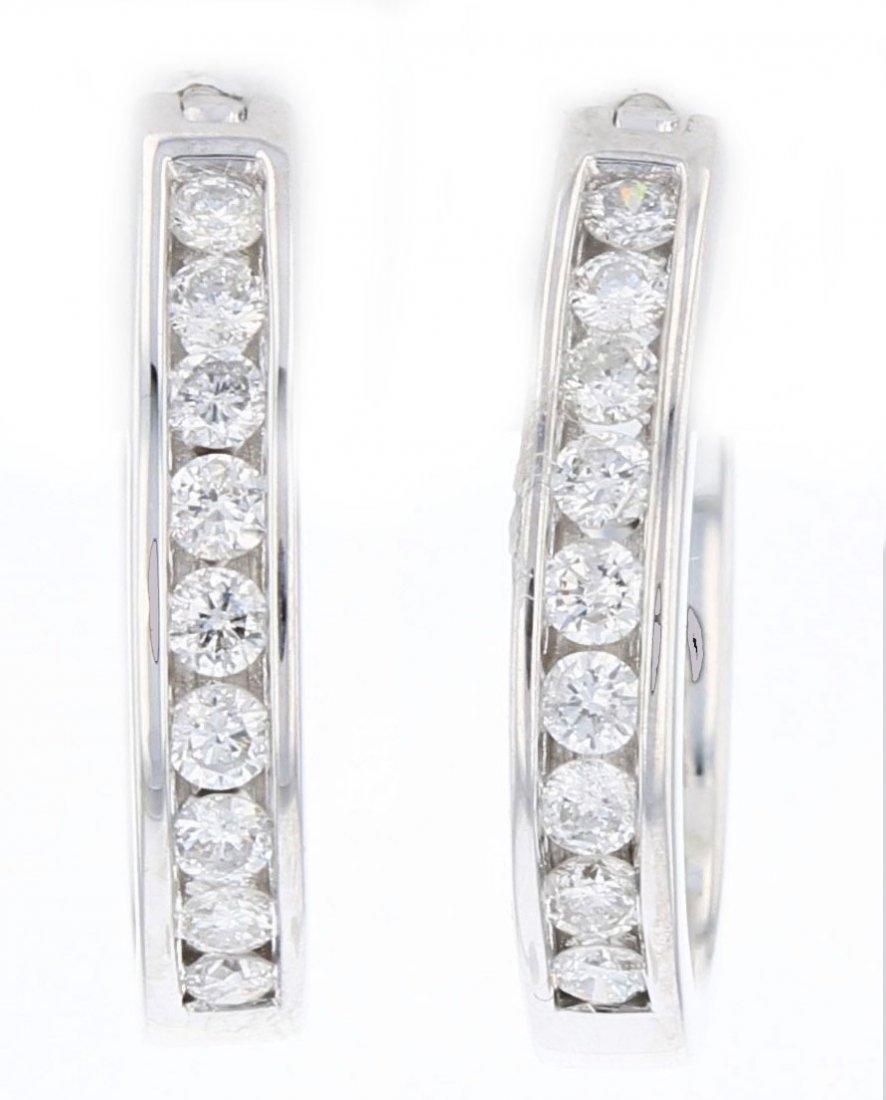 14k white gold diamond earrings, DIA 0.45CT