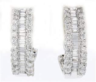 14k wg diamond earrings, RND 0.65CT, BGT 0.56CT