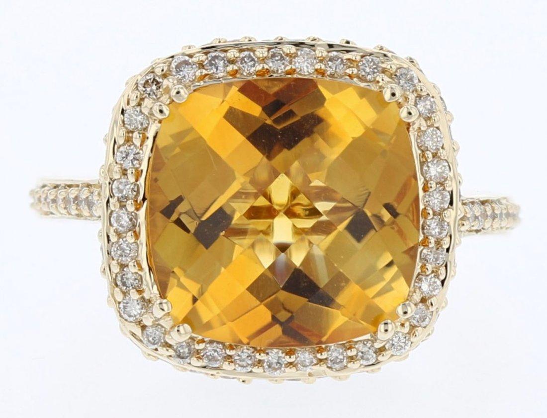 14k yg diamond ring, Citrine 8.40CT, DIA 1.46CT