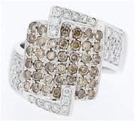 18k wg diamond ring, RND 0.48CT, BGT 0.61CT