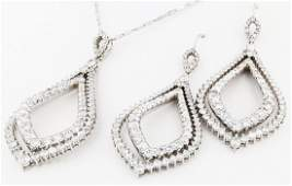 14k wg diamond pendant & earrings, DIA 6.75CT