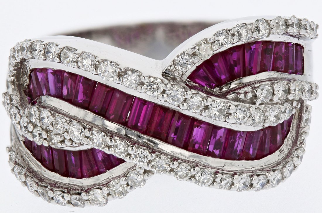 18k wg diamond ring, ruby 3.09CT, 1.12CT