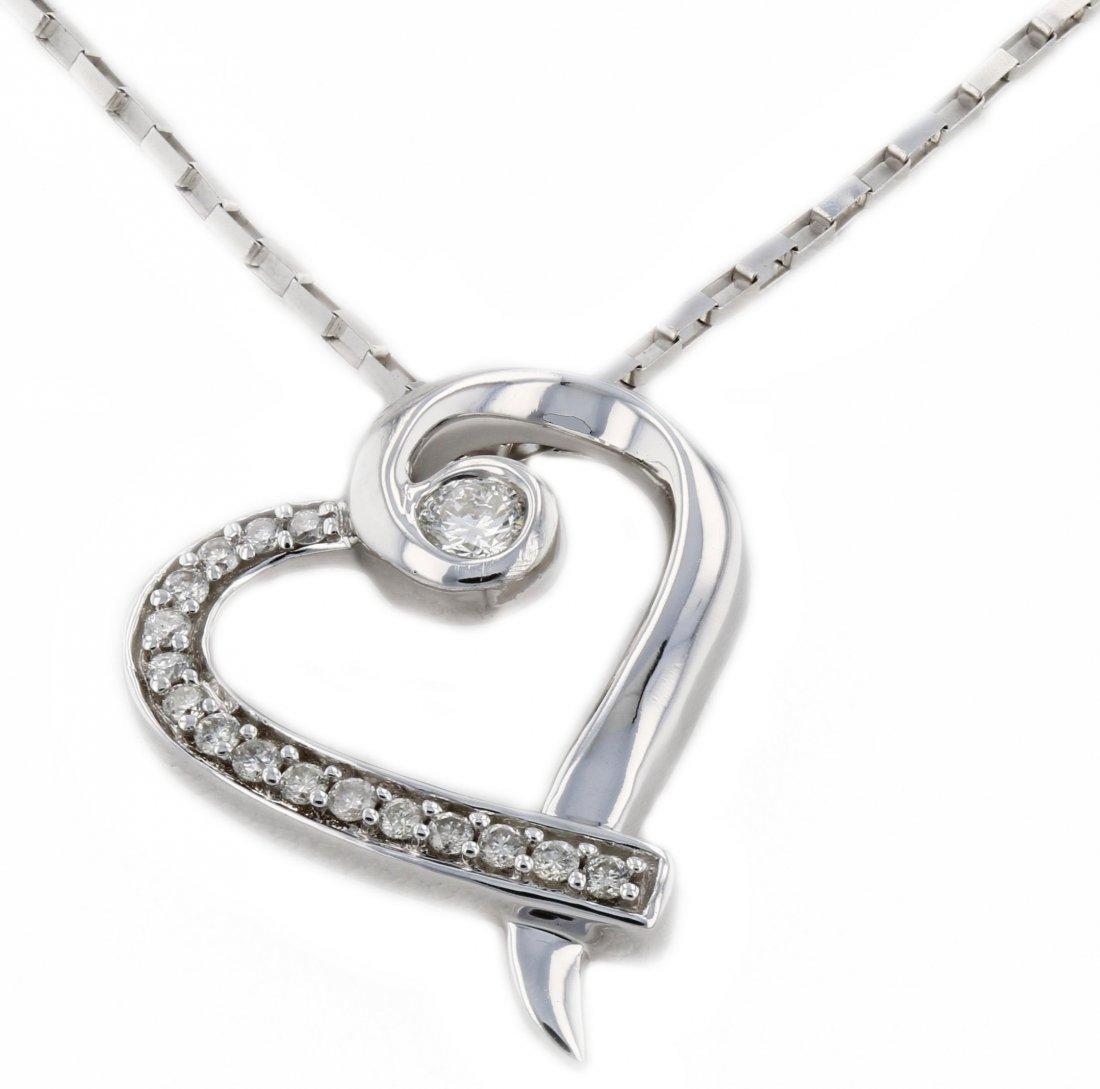 14k wg diamond pendant, CNT 0.26CT VS2-G, RND 0.17CT