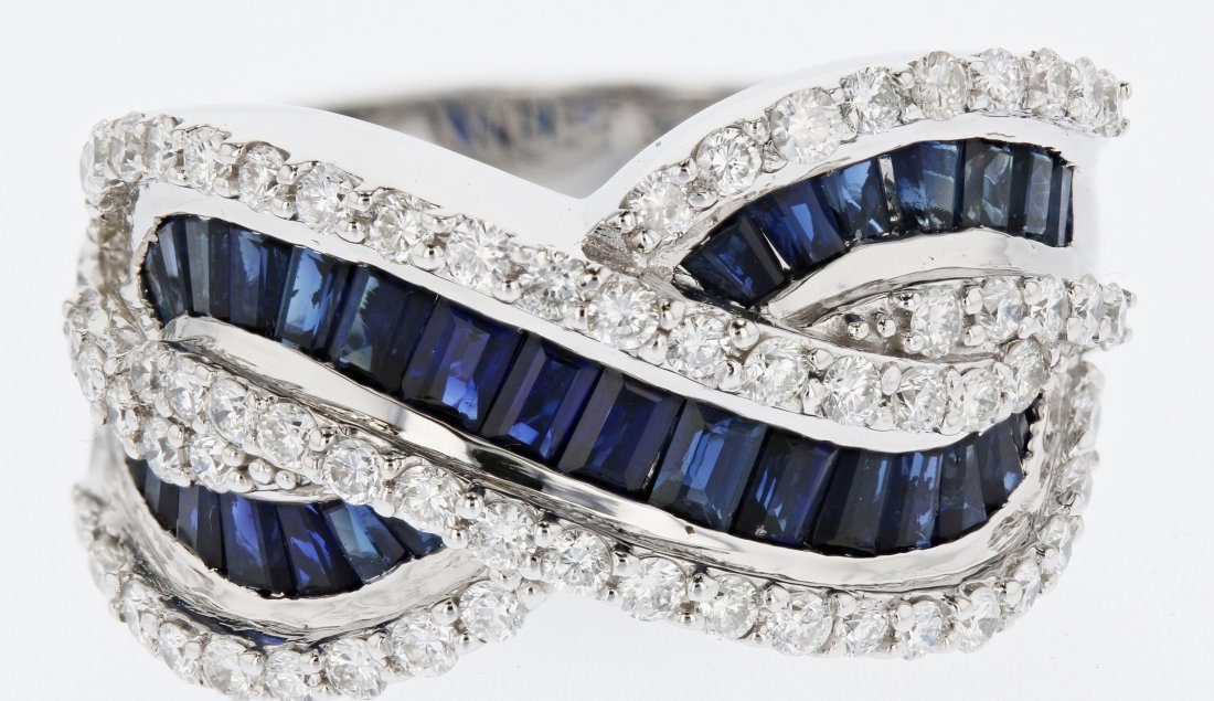 18k wg diamond ring, saphire 3.12CT, 1.12CT