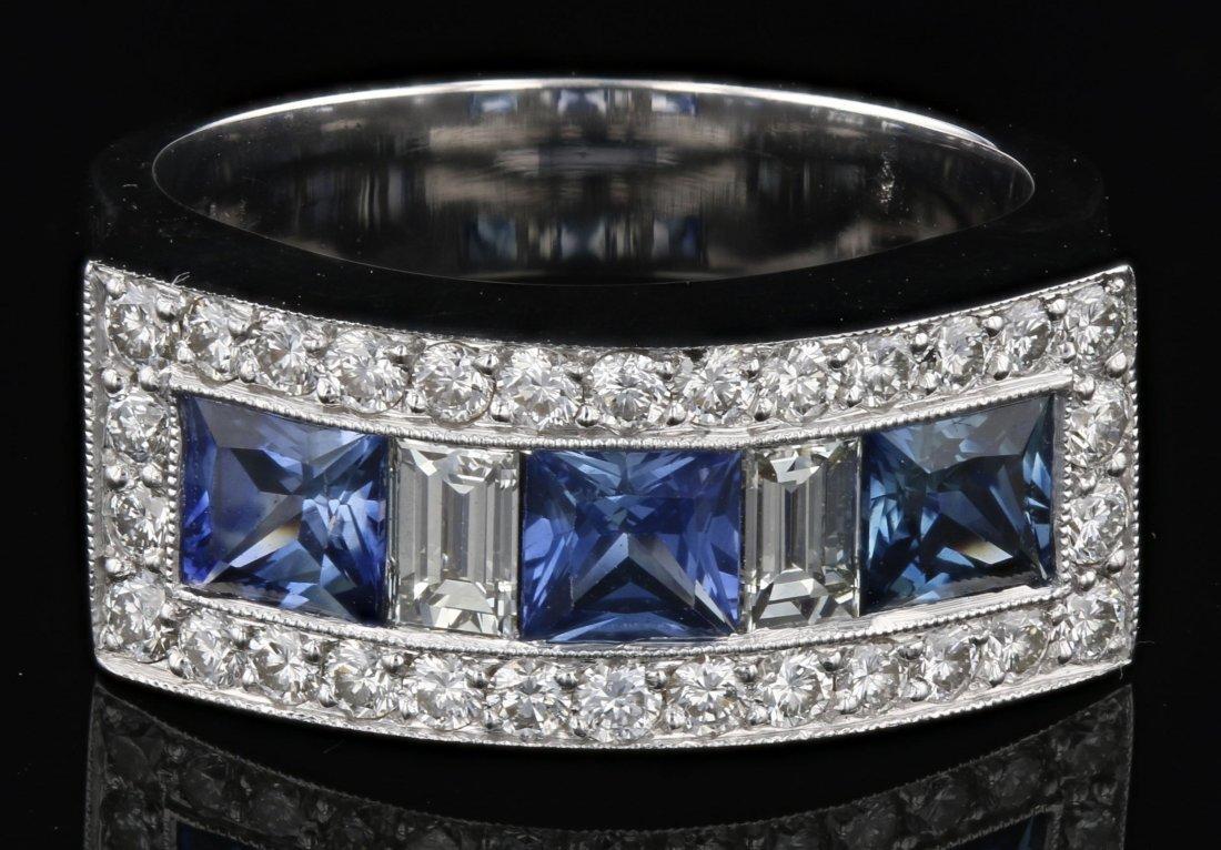 18k white gold diamond ring, RND 0.58CT, BGT0.39CT,