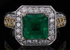 18k Gold, 2.93CT Emerald, 0.94CT Diamond Ring