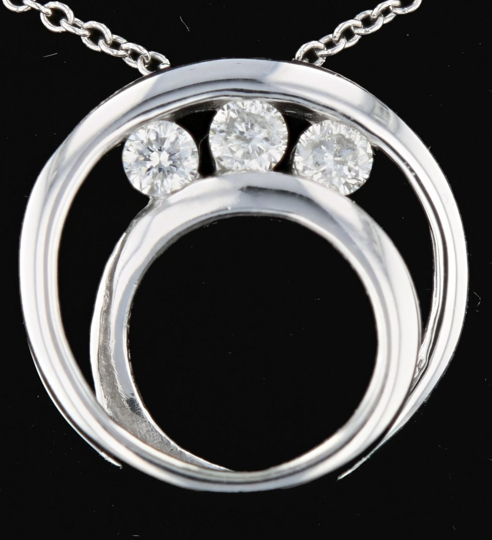 14k White Gold, 0.18CT Diamond Pendant