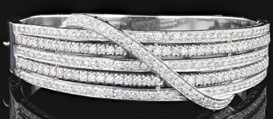 18k White Gold, 4.96CT Diamond Bangle