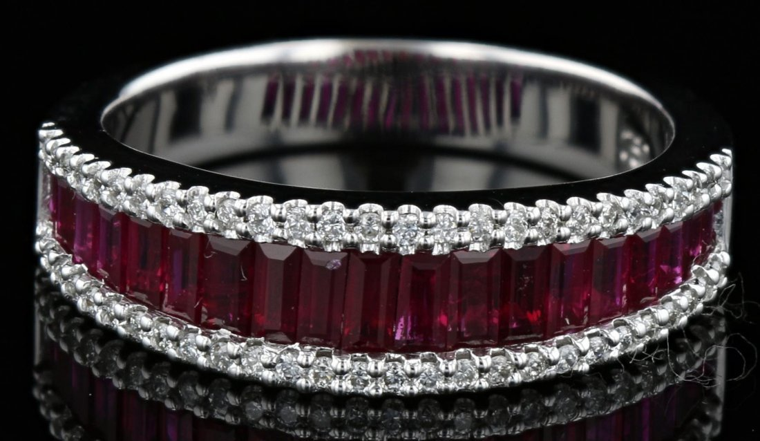 18k white gold diamond ring, ruby 1.40CT, 0.33CT