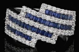 18k Gold 1.41CT Saphire, 1.03CT Diamond Ring