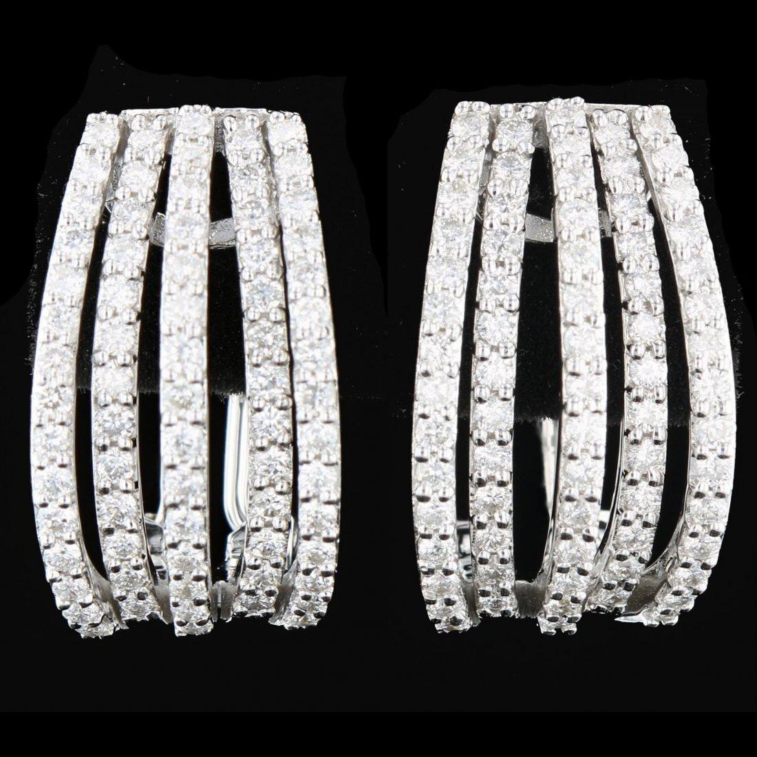 18k White Gold, 1.78CT Diamond Earrings