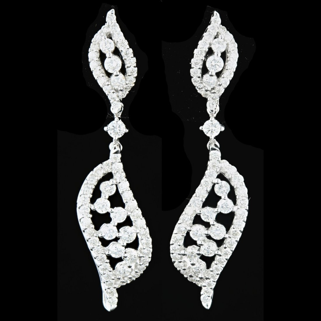 18k White Gold, 1.68CT Diamond Earrings