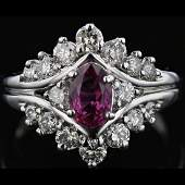 14k White Gold 0.98CT Pink Sapphire & 1.42CT Diamond