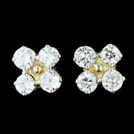 18k Yellow Gold 1.12CT Diamond Earrings