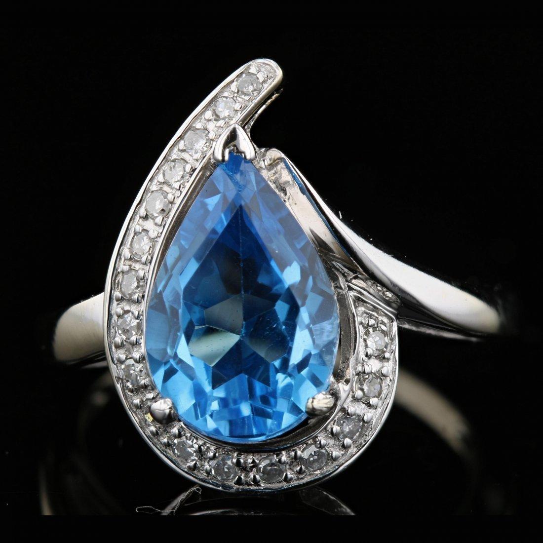 14k White Gold 3.90CT Topaz & 0.18CT Diamond Ring