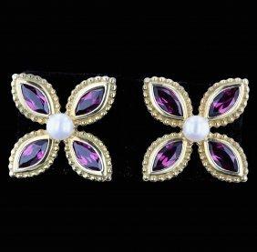 18k Yellow Gold 2.88ct Garnet & Diamond Earrings
