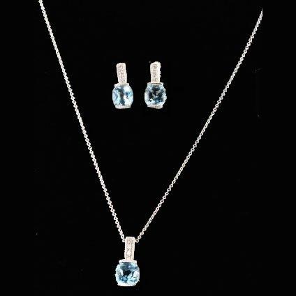 10K White Gold Diamond Earrings and Pendant